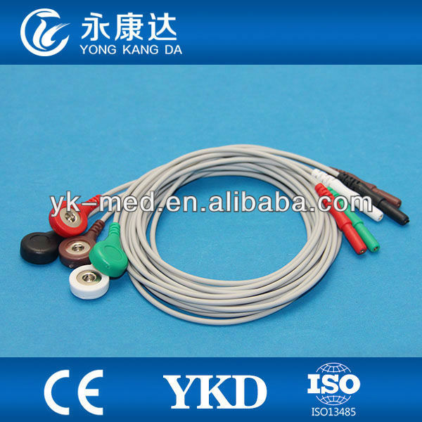 compatible biosys/creative/datascope ecg cable lead wires snap electrodes