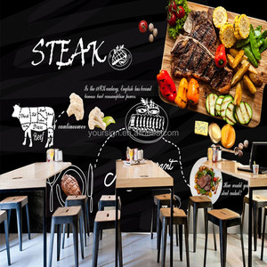 personalized modern wallpaper for fast food restaurant decoration