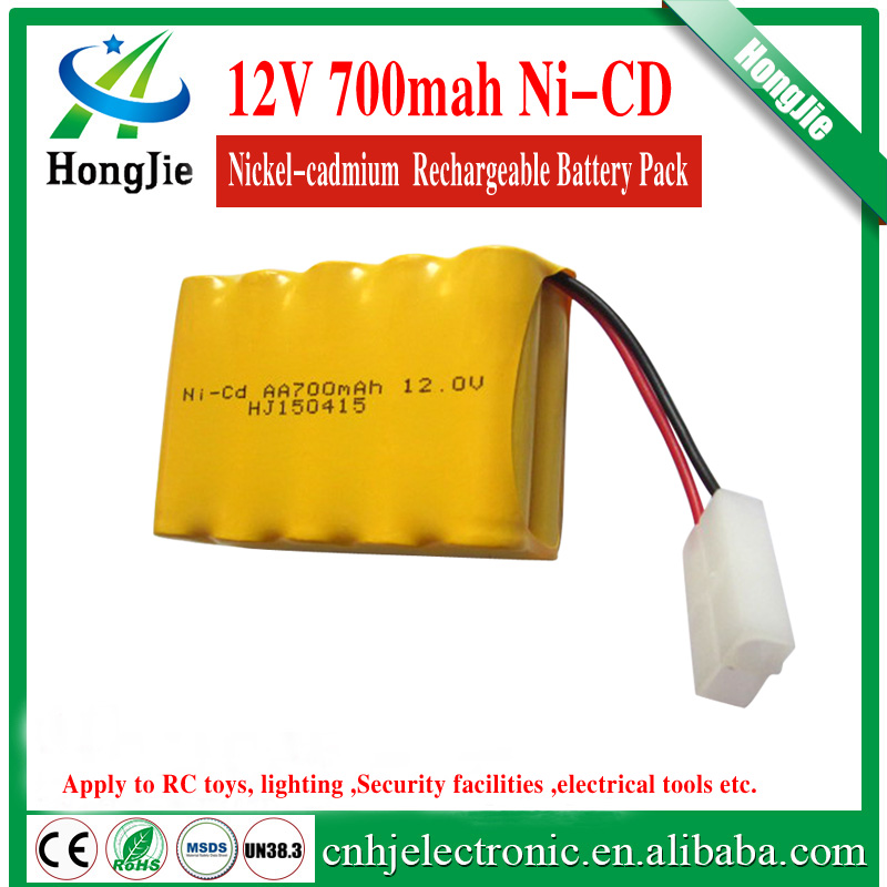 nicd battery pack 12v aa 5+5 array 700mah Ni CD AA nickel cadmium rechargeable batteries