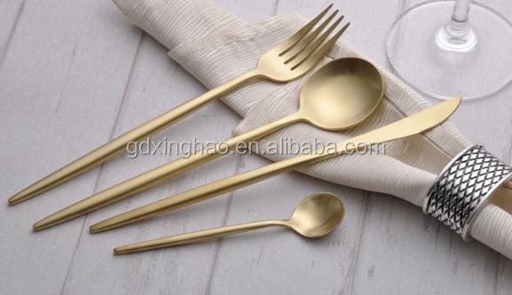 High Quality Matte Golden Cutlery Set 18/10 Spoon Fork Knife