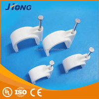 Hot sale locking steel nail plastic round wall cable clip