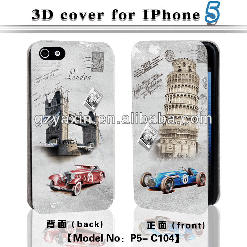 3d phone case for iphone,hot selling wallet case for iphone 5 with 3d image