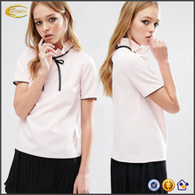 Wholesale High neckline short sleeves fashion blouse and skirt 2016 new school uniform design skirt with Contrast bow for summer