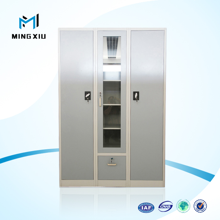 Luoyang mingxiu 3 door cheap metal storage cabinet / wardrobe clothes closet with doors