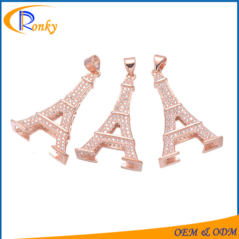 Hot china jewelry factory silver eiffel tower jewelry pendant parts rose gold necklace