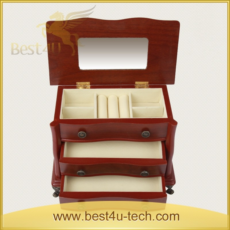 Wood Mini Desk Jewel Storage Box Cosmetic Small Wood Storage Case With Mirror