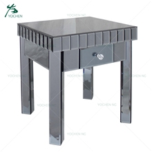 Grey modern mirrored side table living room cabinet