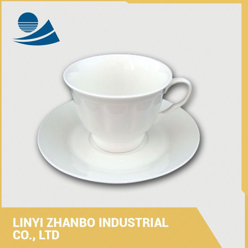 Bulk pure white ceramic tea cups and saucers sets