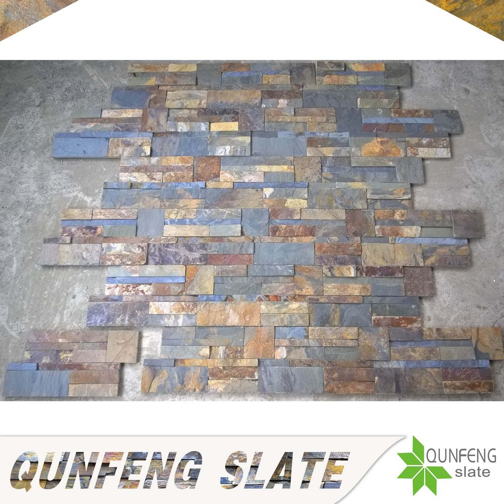 hot sale split surface finishing cheap natural rusty slate tile wall stone finishes