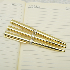 Luxury style hot sale gold color metal ballpoint pen with crystal for gift