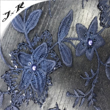 70706 China wholesale 100% polyester elegent 3d flower sequin embroidery beads mesh fabric