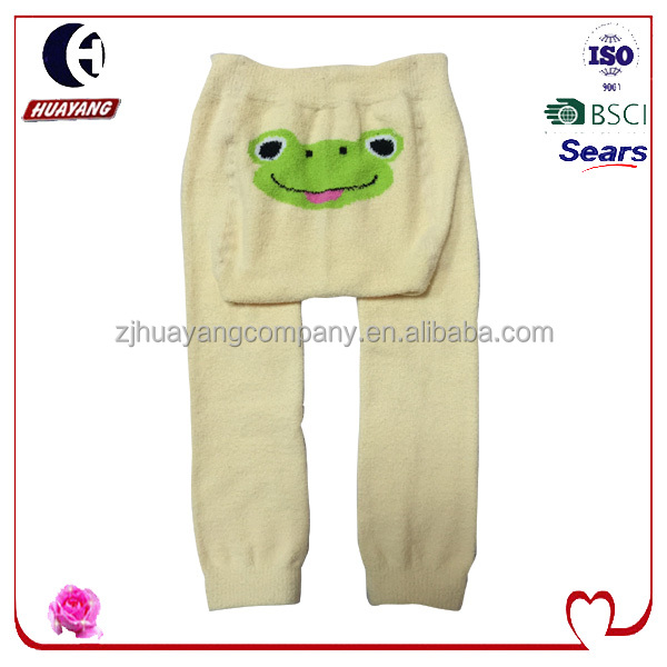 baby winter fuzzy footless tights with frog patternon the big PP/ there are different kinds of designs to choose