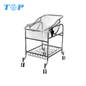 TOP-M1048 Hospital Stainless Steel Medical Baby Trolley Bed