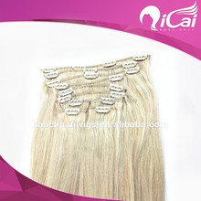 Wholesale price full head 220g/set remy clip in hair extension lace machine weft no shedding can be curled
