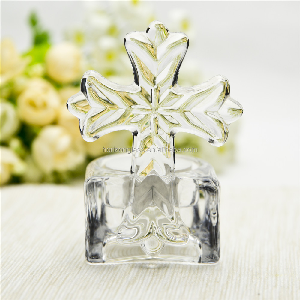 Hot Wholesale Hand Made High Quality Clear cross crystal candle holder