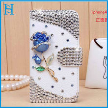 Diamond leather flip case cover for iphone 4 4s mobile phone accessory