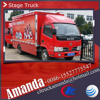 Dongfeng 4*2 95hp light duty removable performance stage truck with stage podium
