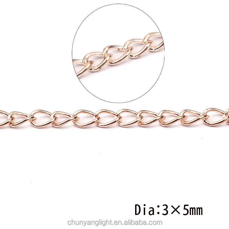 3*5mm New Rose Gold Plated Brass Twisted Oval Curb Neck Chain Jewelry Making Findings Unfinished Necklace Design for ladies girl