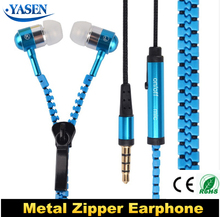 Hot Metal Zipper Earphone Fashion Headphones with 3.5mm Connector Microphone Stereo Bass for mobile,MP3 MP4+2 pair Ear cap