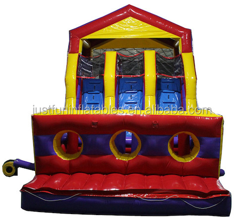 grand river 3 lanes cheap inflatable obstacle courses bounce house with slide for kids n adults
