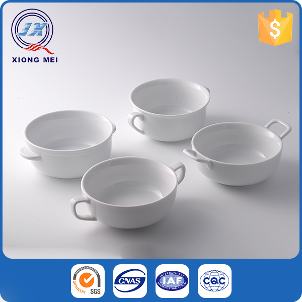 Promotional microwave porcelain white ceramic soup bowl with handle