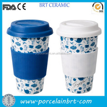 Custom logo printing blue and white ceramic travel mug with lid