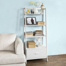 Wooden wall shelf ladder bookcase with 1 drawer and 4 shelves