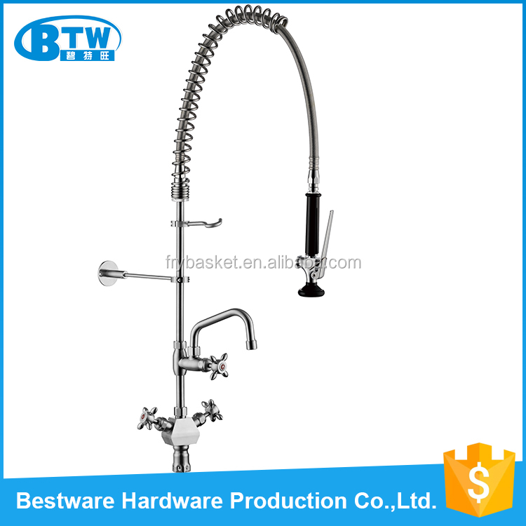 Restaurant Commercial pre-rinse 304 stainless steel pull down long spout kitchen sink faucet