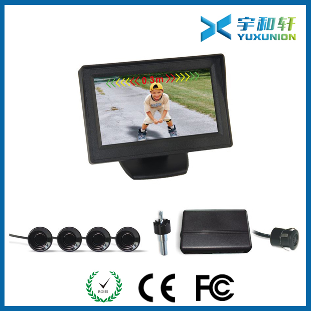 Car parking sensor with backup rear view camera
