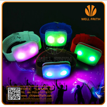 Flashing LED lighted glowing wristbands,LED concert party wearable silicone wrist watch