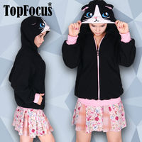 New Design Costume Black Cat Cosplay Anime Hooded Coat