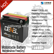 motorcycle battery maintenance Free with acid bottle -YTX7A-BS12V7AH