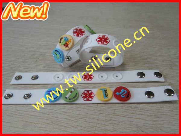 Hot sale allergy silicone bracelet with button