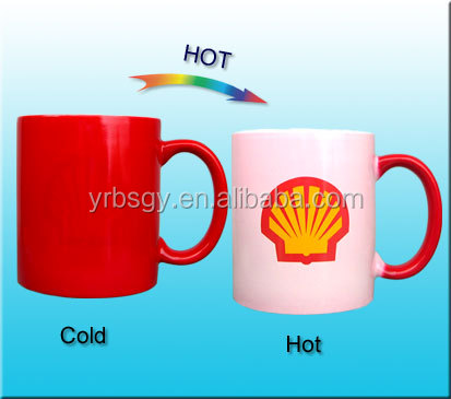 China supplier inner white outside red color full color changing ceramic mug