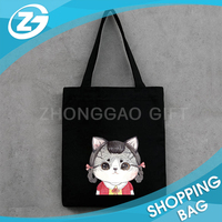 Cute Black and White Custom Recycle Cotton Tote Bag Promotion Canvas Bag