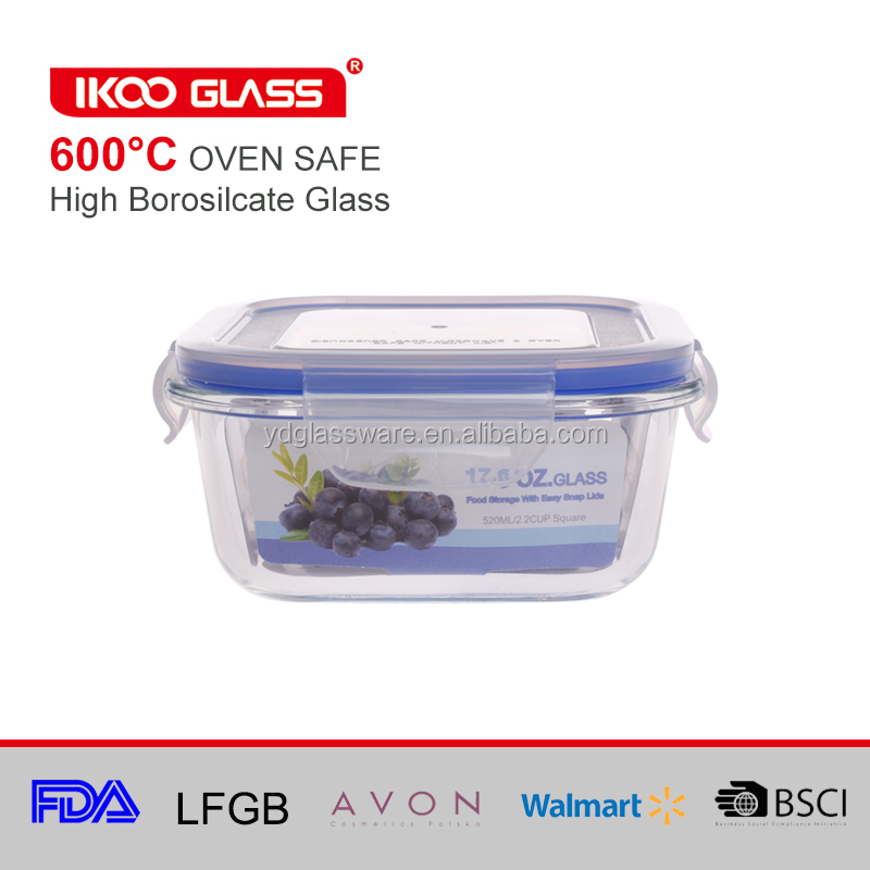 Odor proof and stain proof Rectangle Glass Food-Storage Container with Lid, 12.5-Ounce, Blue