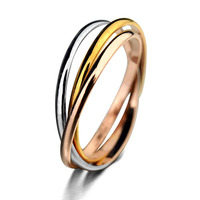 Fast selling three ring anillos de plata ring with 18k gold for man