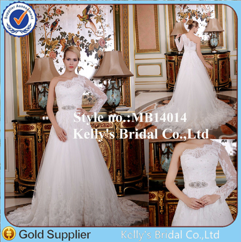 Imported satin and lace fabric single long sleeve & one shoulder applique wedding dresses beaded belt design
