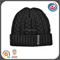 cable woven custom grain fold up beanie knitted hat