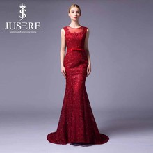 Elegante muestra real fotos short manga sheer volver estilo occidental vestido de las mujeres fishtail lace evening dresses 2015