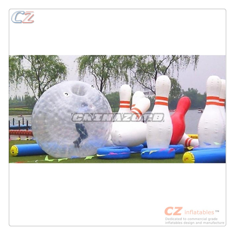 Hot selling outdoor zorbing games inflatable human bowling ball games