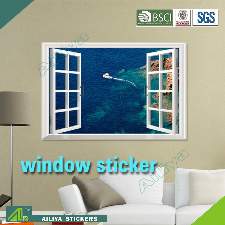 New arrival removable pvc waterproof beautiful scenery self adhesive home decor custom window decals