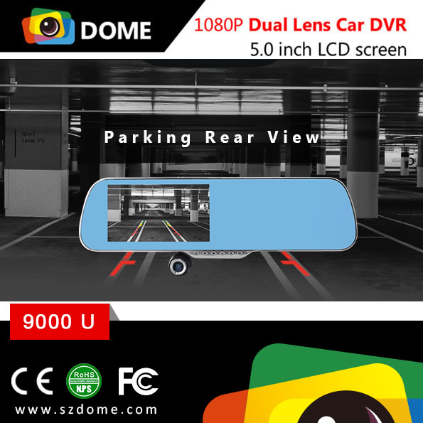 5.0 Inch Touch Screen Google Map gps Navigation 1080p dual camera rearview mirror car dvr