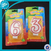 Huaming Wholesale paraffin wax colorful numeral birthday candle/Letter Cake Candles