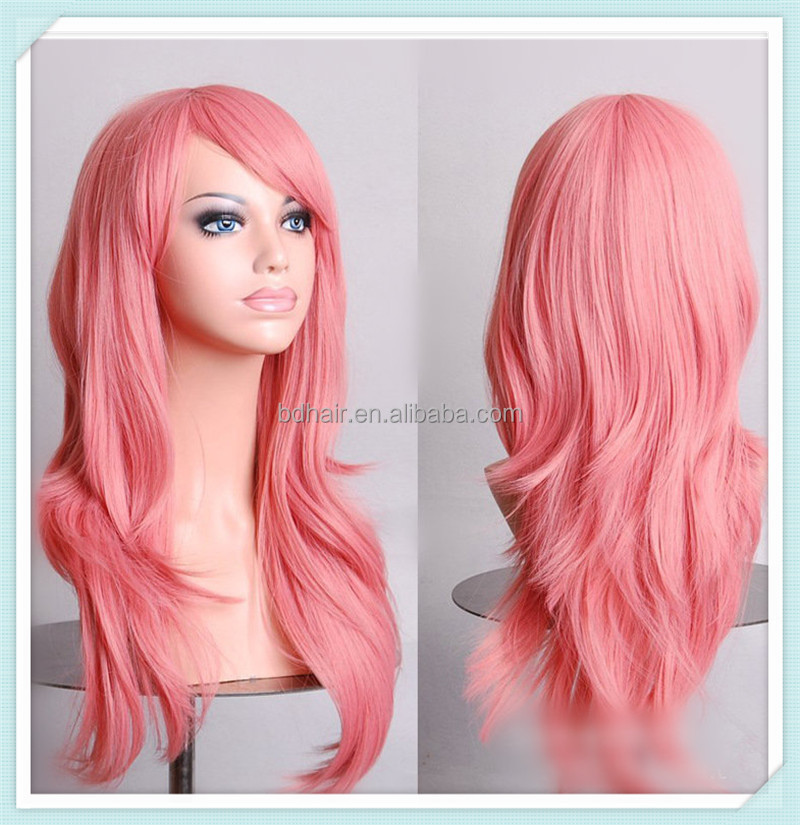 pink cosplay wig fashion long Hot selling wholesale carnival party wig 70cm