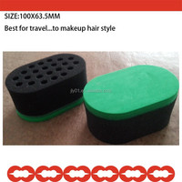 Green hard long round shape magic brush Hair sponge TWIST brush with holes