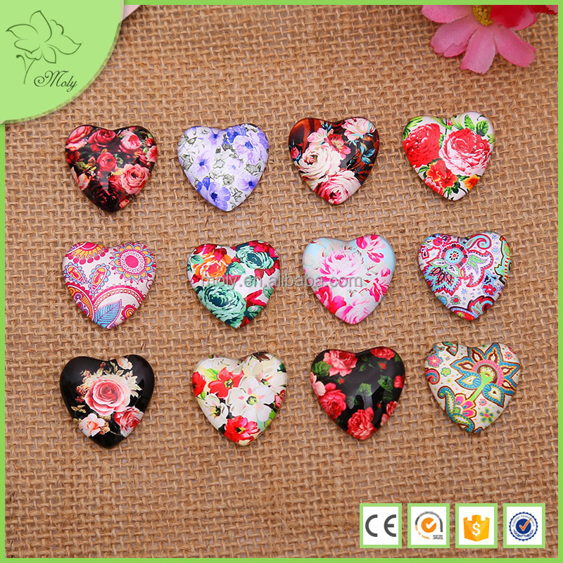 2015 New Design Time Gem Paster Jewelry, Heart Shaped Pendant Glass Paster Accessories for Jewelry