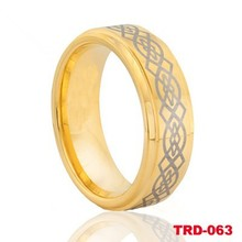 18k gold plated golden tungsten ring