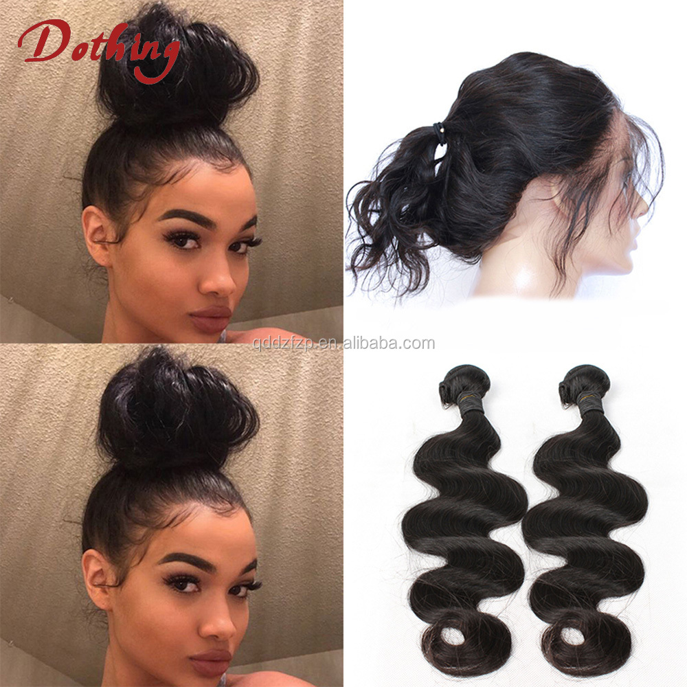 8A Pre Plucked Natural Hairline 360 Lace Frontal Closure Body Wave Peruvian Virgin Human Hair 360 Lace Frontals With Bundles