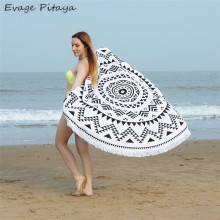 Superfine fiber printed soft wholesale round custom beach towel cotton